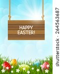 easter card with color eggs | Shutterstock .eps vector #264563687