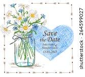 wedding invitation with mason... | Shutterstock .eps vector #264599027
