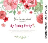 flower wedding invitation card  ... | Shutterstock .eps vector #264599237