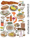 set of vietnamese food and... | Shutterstock .eps vector #264604313