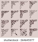 set of ornamental corners in... | Shutterstock . vector #264645377