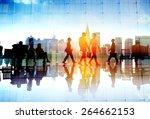 silhouette people meeting... | Shutterstock . vector #264662153