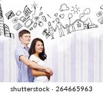young couple hugging each other ... | Shutterstock . vector #264665963