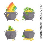 pot with gold set. | Shutterstock .eps vector #264677747