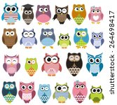 Stock vector set of cartoon owls with various emotions 264698417