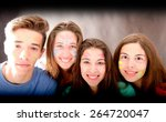 group of friends with faces... | Shutterstock . vector #264720047