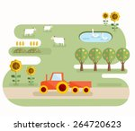farm scene. abstract map of... | Shutterstock .eps vector #264720623