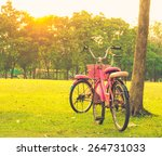 bicycle on the grass with sun... | Shutterstock . vector #264731033