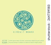 circuit board sign icon.... | Shutterstock .eps vector #264739583