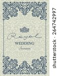 invitation card baroque blue... | Shutterstock .eps vector #264742997