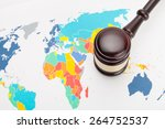judge's gavel and over world map | Shutterstock . vector #264752537