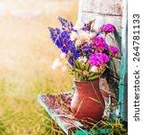 Bouquet Of Garden Flowers On...