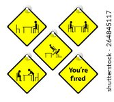 set of yellow tag you are fired ... | Shutterstock .eps vector #264845117