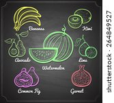 exotic fruits set color chalk... | Shutterstock .eps vector #264849527