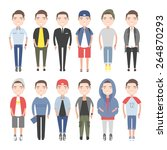 young people in everyday... | Shutterstock .eps vector #264870293