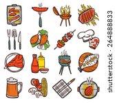bbq grill colored decorative... | Shutterstock .eps vector #264888833
