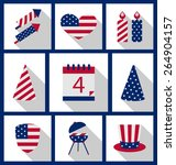 icons set usa flag color... | Shutterstock .eps vector #264904157
