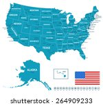 united states map | Shutterstock .eps vector #264909233