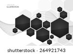 Abstract Black Hexagon. Vector...