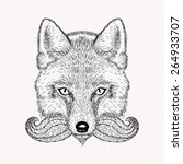 sketch fox with a beard and... | Shutterstock .eps vector #264933707