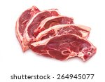 Small photo of Uncooked New Zealand lamb chops isolated on a white studio background.