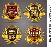 set of luxury golden badges... | Shutterstock .eps vector #264982967