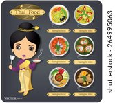 cartoon vector thai chef girl...   Shutterstock .eps vector #264995063