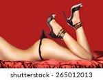 sexy woman legs  black high... | Shutterstock . vector #265012013