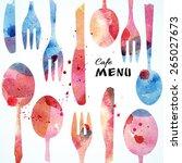 cafe menu card design template. ... | Shutterstock .eps vector #265027673