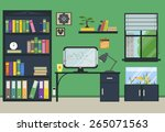 flat home or office workplace... | Shutterstock .eps vector #265071563