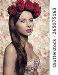 beauty brunette female posing... | Shutterstock . vector #265075163
