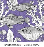 seamless pattern coro sciaena ... | Shutterstock .eps vector #265114097
