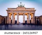the floodlit brandenburg gate... | Shutterstock . vector #265126907