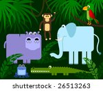 Jungle animals collection, vector - stock vector