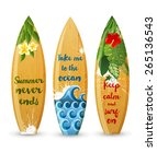 3 wooden surfboards with prints ... | Shutterstock .eps vector #265136543