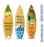 3 wooden surfboards with prints ... | Shutterstock .eps vector #265136543