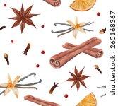 tea spices  cinnamon sticks ... | Shutterstock .eps vector #265168367