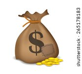 stacks of coins and money bag...   Shutterstock .eps vector #265178183
