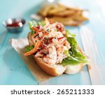 Lobster Roll On Colorful Retro...