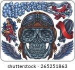 hand drawn set of old school... | Shutterstock .eps vector #265251863