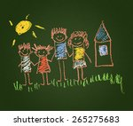 happy family. kids drawings.... | Shutterstock . vector #265275683