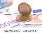 money euro coins and banknotes  | Shutterstock . vector #265284617