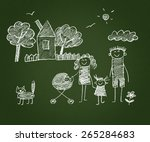 happy family. kids drawings.... | Shutterstock . vector #265284683