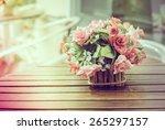 vintage flower in vase  ... | Shutterstock . vector #265297157