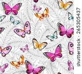 butterflies and flowers exotic... | Shutterstock .eps vector #265305437