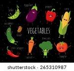 cartoon vegetables illustration ... | Shutterstock .eps vector #265310987
