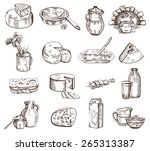 vector hand drawn milk products ... | Shutterstock .eps vector #265313387