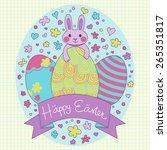 happy easter card in vector.... | Shutterstock .eps vector #265351817