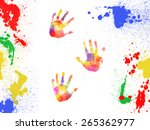 Colorful Handprints And Paint...