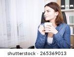 businesswoman sitting thinking... | Shutterstock . vector #265369013